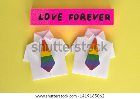 LGBT,symbols on rainbow flags, four checkboxes with the symbolism, stand with the inscription: love forever. Rights of homosexual people, gays, lesbians, bisexual, transgender. Copy space, #1419165062