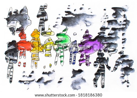 LGBT watercolor illustration. Watercolor illustration isolated on white.