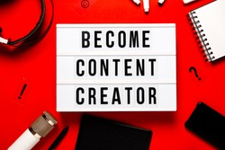 Lght box Create content on red abstract background . Content creators and  online education concept. Top horizontal view copyspace