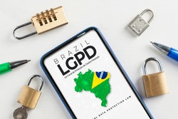 LGPD (brazilian data protection law) concept: smartphone with an imaginary page showing a link to read the Brazilian data protection law (Lei Geral de Proteção de Dados Pessoais)