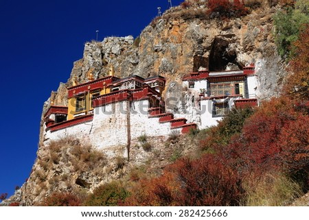 Lhakhang Puk-cave. Here Lhalung Pelgyi Dorje is said to have meditated for 22 years beginning in 842 AD. Drak Yerpa monast.-complex of more than 80 meditation caves. Lhasa pref.-Tibet.