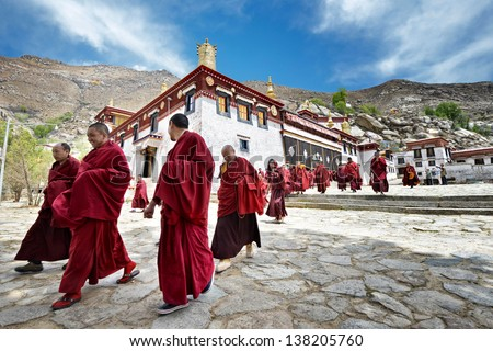 lhasa   may 1  monks leave the...