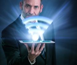 Li-Fi W-Lan technology, internet and networking concept - Businessman activates Li-Fi High speed connection