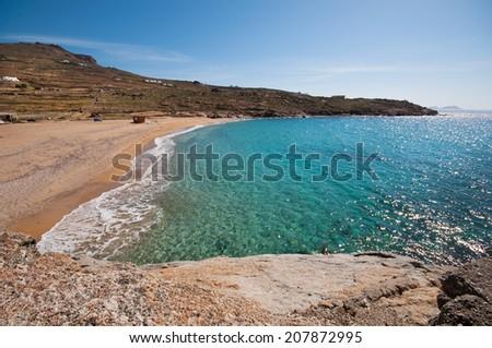 Lia beach in Mykonos city Foto stock ©