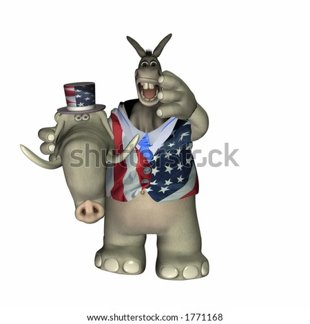 Liberal Donkey caught in a Conservative Elephant suit. Political Humor
