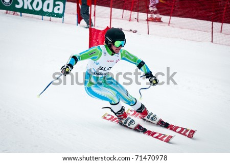 LIBEREC, CZECH REPUBLIC - FEBRUARY 18: Slovene skier Miha Hrobat during team parallel giant slalom competition of European Youth Olympic Festival 2011, February 18, 2011 in Liberec, Czech Republic