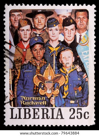 LIBERIA - CIRCA 1979: A 25-cent stamp printed in Liberia shows a Norman Rockwell painting of diverse people representing the Boy Scouts of America, circa 1979
