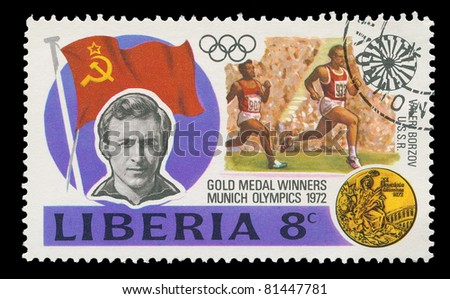 Liberia - CIRCA 1972: A post stamp printed in Liberia shows soviet runner, who won the gold in Munich olympics, circa 1972