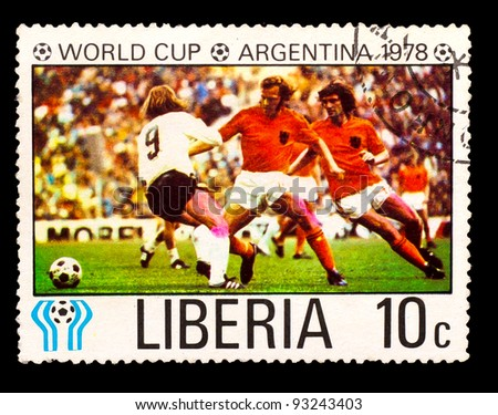 LIBERIA - CIRCA 1978: a stamp printed by LIBERIA, shows football players team Holland. World football cup ,Argentina, circa 1978