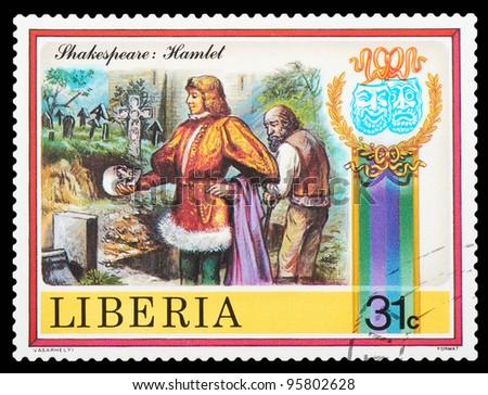 LIBERIA - CIRCA 1978: stamp printed by Liberia, shows Shakespeare's poems, circa 1978