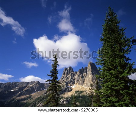 Liberty Bell Mountain in the Okanogan National Forest of Washington State. - stock photo