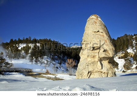Liberty Cap (a dormant hot spring cone) at Yellowstone National Park.
