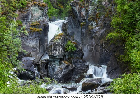 Liberty Cap waterfall in Alaska