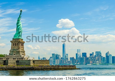 Liberty Island, New York, USA: The outdoor Statue of Liberty designed by Alexandre Gustave Eiffel with Manhattan in the background