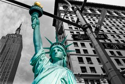 Liberty Statue and Empire State building New York American Symbols USA photomount