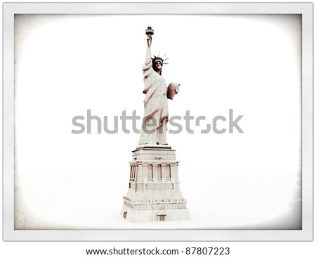 liberty statue in old postcard