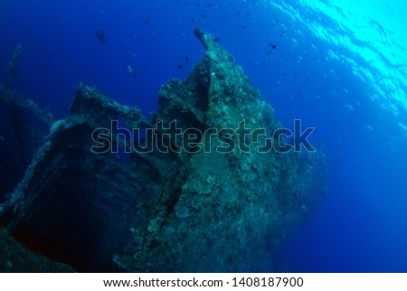 Libety wreck, underwater world, artificial reef. Clear blue sea. Tulamben, Bali, Indonesia.  #1408187900
