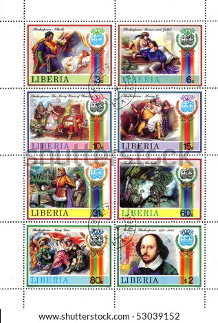 LIBIA - CIRCA 1980s: Stamps printed in Libia shows portrait of William Shakespeare and scenes of his palys, circa 1980s