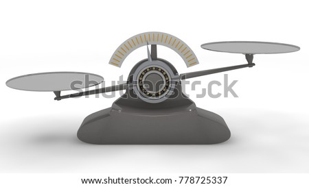 Libra lever, balancing on a ball bearing mechanism, a device for estimating weight of the object. Grey, isolated on white background. 3D rendering.