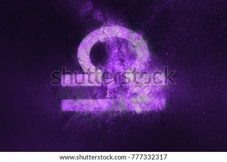 Libra Zodiac Sign. Night sky Abstract background