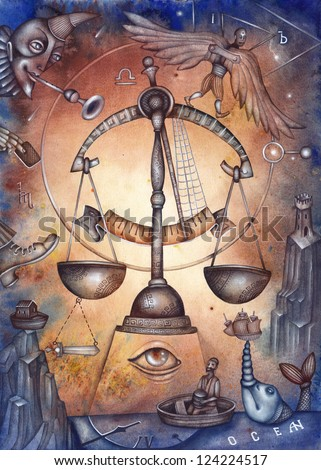 Libra. Zodiac sign, symbol in watercolor style. Part of a set ot 12. Illustration by Eugene Ivanov.