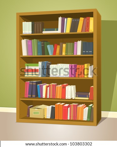Library Bookshelf/ Illustration of a cartoon home or school wooden bookshelf inside library store with  books rows