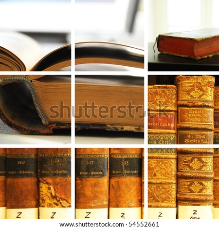 library collage with books showing education concept - stock photo