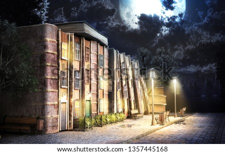 Library concept. Fantasy literature. Stack of old books as street of the city. 3d illustration Stockfoto ©