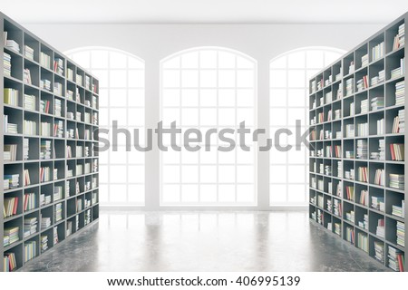 Shutterstock Library interior design with massive bookshelves and concrete floor. 3D Rendering
