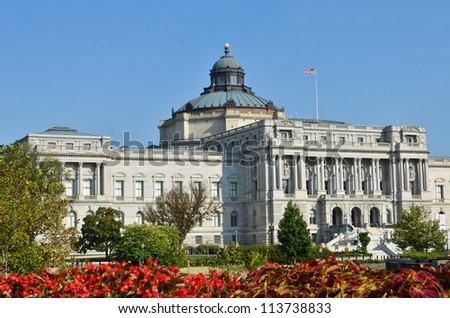 Library of Congress in autumn, Washington DC United States