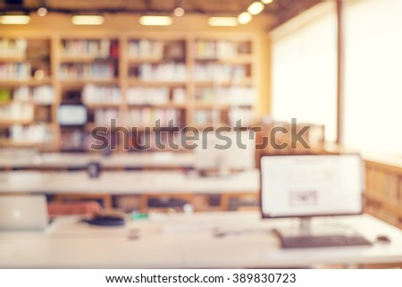 Library room interior blur background for your design - vintage color style