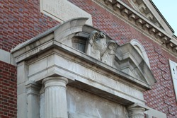 Library's doorway has an eagle that watches over bystanders.