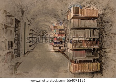 Library setting with books and reading material. Titles are not legible. Modern Painting. Brushed artwork based on photo. Background texture. #554091136
