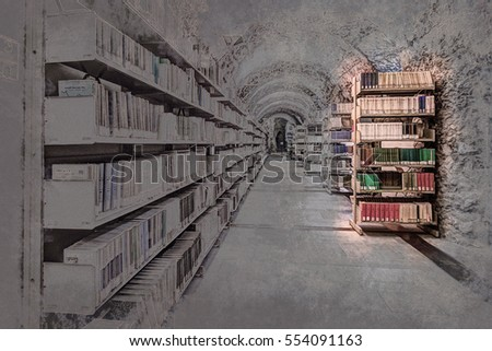Library setting with books and reading material. Titles are not legible. Modern Painting. Brushed artwork based on photo. Background texture. #554091163