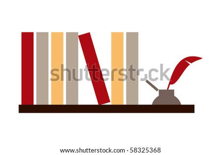 Library shelf with books and inkwell on white background.