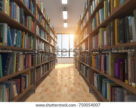 Library stacks of books and bookshelf. 3d illustration