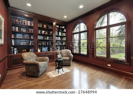 Library with wood paneling