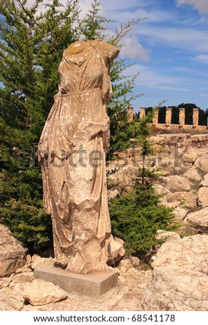 Libya Cyrenaica Cyrene ancient ruins headless stone statue of woman - Unesco World heritage site