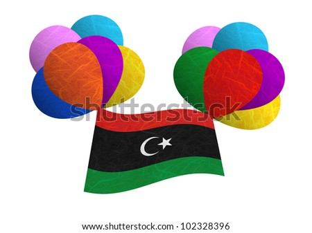 Libya flag balloon on the wind. Mulberry paper on white background.