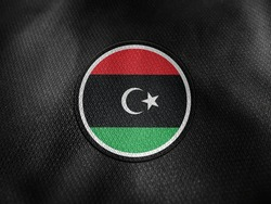 Libya flag isolated on black with clipping path. flag symbols of Libya. Libya flag frame with empty space for your text.