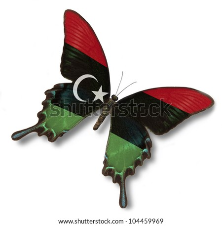 Libya flag on butterfly isolated in white