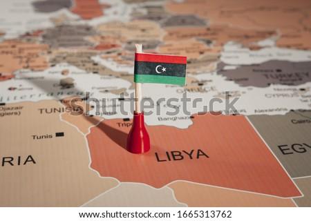 Libya flag on map of Libya Stockfoto ©