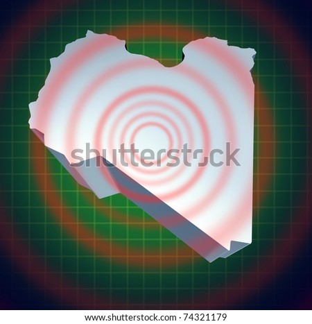 Libya war and conflict symbol representing a dimensional view of the Libyan country.
