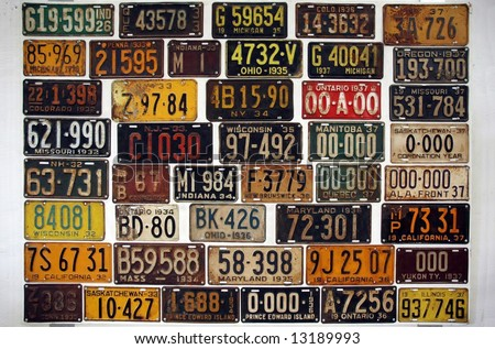 License numbers of old cars in a museum