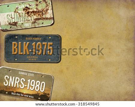 license plate. old car number
