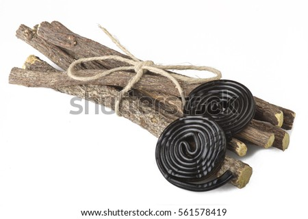 Licorice roots and licorice black on the white Foto stock ©