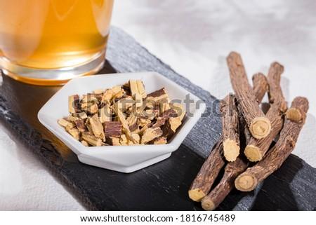 Licorice roots and tea, licorice, paloduz, palo duz, palodú, palodul, licorice - Glycyrrhiza glabra Stok fotoğraf ©