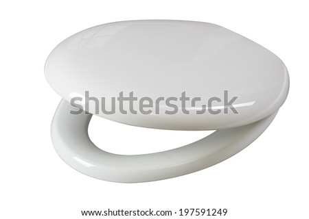 Lid for toilet seat isolated on white background with clipping path  #197591249