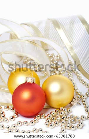 Lie on a white background Christmas holiday toys wrapped packing tape