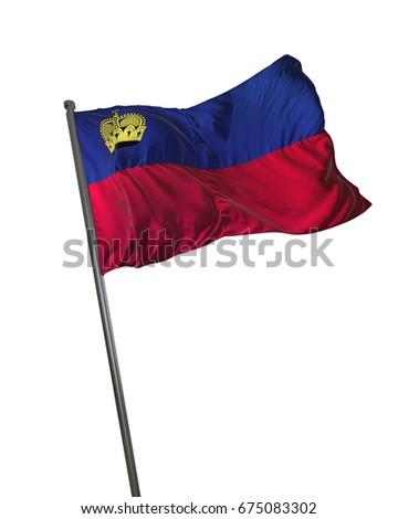 LiechtensteinFlag Waving Isolated on White Background Portrait 3D Rendering